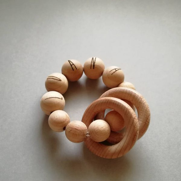 custom teether rattle wood