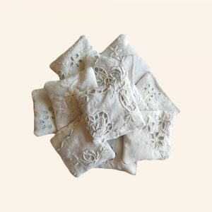 ANTIQE FRENCH LACE LAVENDER POUCHES